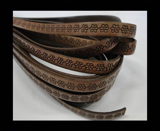 Design Embossed Leather Cord - 10mm - Flower pattern -Brown