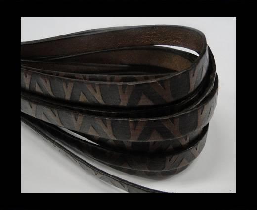 Design Embossed Leather Cord - 10mm - V-Dark Brown