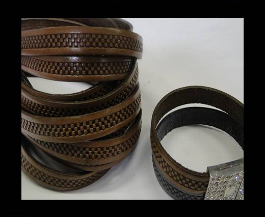 Design Embossed Leather Cord - 10mm - Bricks style-Dark Brown