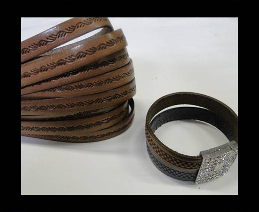 Design Embossed Leather Cord - 10mm - Ceasar style-Brown