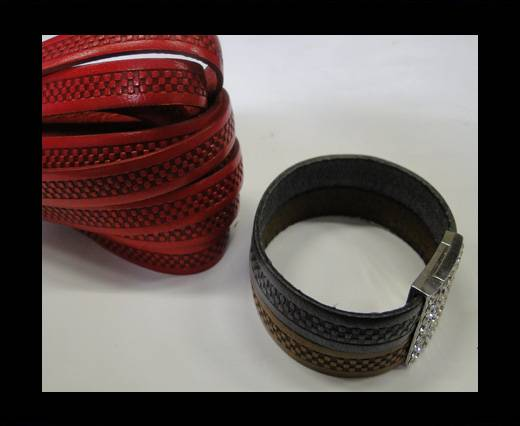 Design Embossed Leather Cord - 10mm - Bricks style-Red