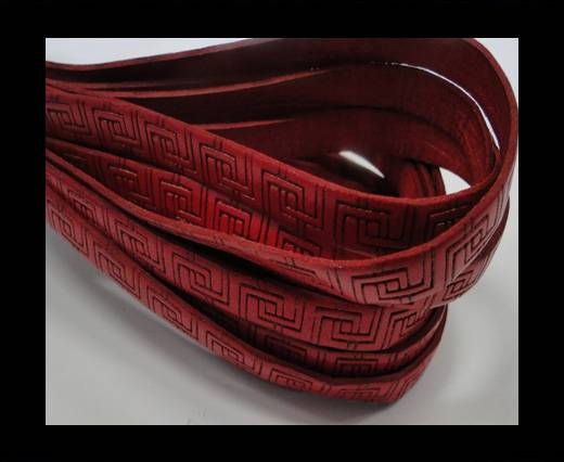 Design Embossed Leather Cord - 10mm - Papyrus style-Red