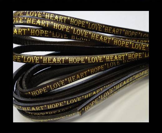 Real Flat Leather-5MM-Hope Love Heart style-Dark Brown-Gold