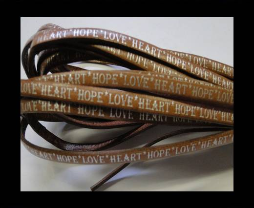 Buy Real Flat Leather-5MM-Hope Love Heart style-Light Brown-Silver at wholesale prices