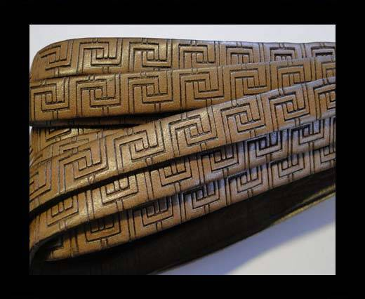 Design Embossed Leather Cord - 10mm - Papyrus style-Brown
