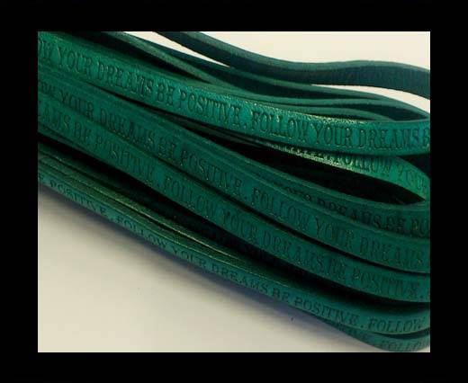 Real Flat Leather-5MM-Follow Your Dreams-Turquoise