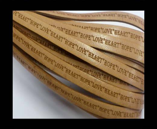 Real Flat Leather-10mm-Hope Love Heart style-Natural