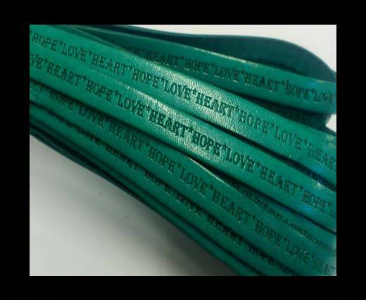 Real Flat Leather-10mm-Hope Love Heart style-Turquoise