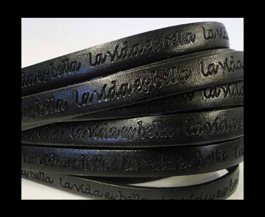 Buy Real Flat Leather-10mm-La Vida Es Bella -Black at wholesale prices
