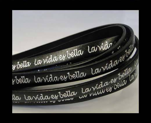 Buy Real Flat Leather-10mm-La Vida Es Bella -Black with Silver at wholesale prices