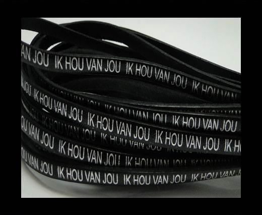 Real Flat Leather-5MM-IK HOU VAN JOU-silver-Black