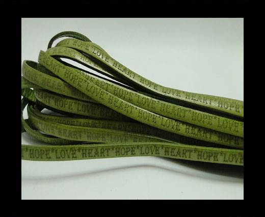 Buy Real Flat Leather-5MM-Hope Love Heart style-Green at wholesale prices