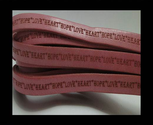 Real Flat Leather-10mm-Hope Love Heart style-Pink