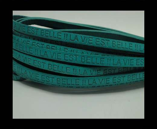 Buy Real Flat Leather-LA VIE EST BELLE-Turquoise at wholesale prices