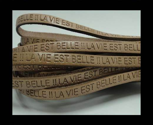 Real Flat Leather-LA VIE EST BELLE-Light Brown