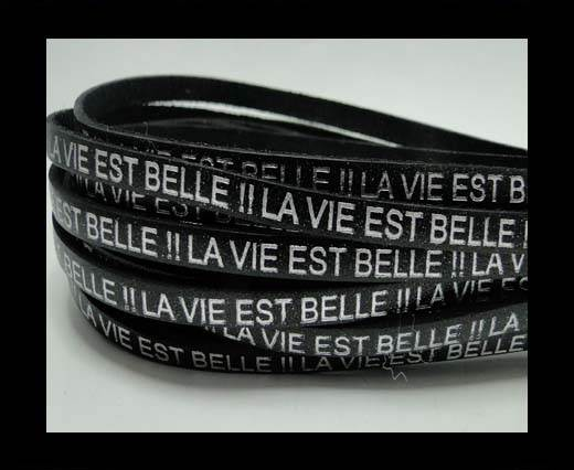 Real Flat Leather-LA VIE EST BELLE-Silver-Black
