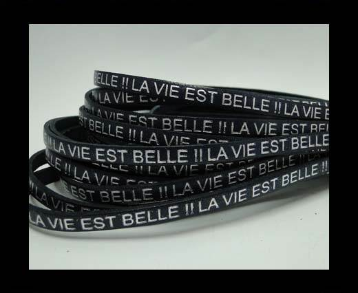 Real Flat Leather-LA VIE EST BELLE-Silver-Blue
