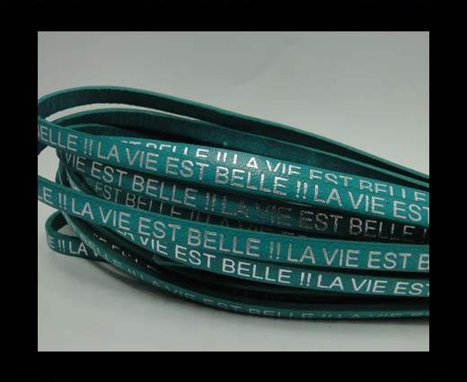 Buy Real Flat Leather-LA VIE EST BELLE-Silver-turquoise at wholesale prices