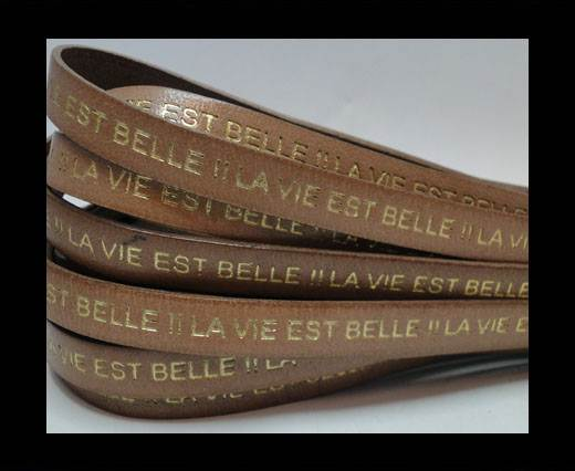 Real Flat Leather-LA VIE EST BELLE-Beige-Gold