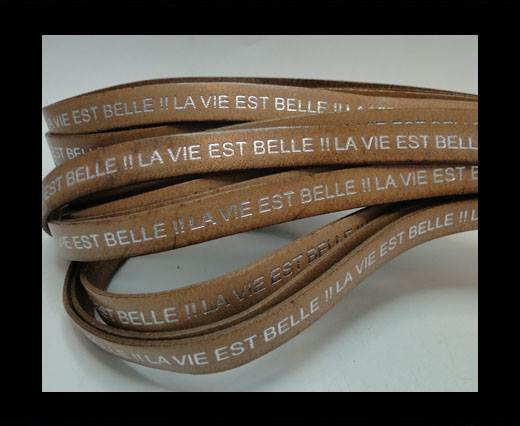 Real Flat Leather-LA VIE EST BELLE-Beige with Silver