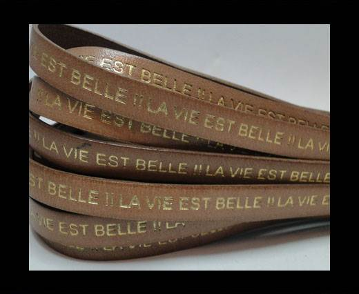 Real Flat Leather-LA VIE EST BELLE-Beige with Gold