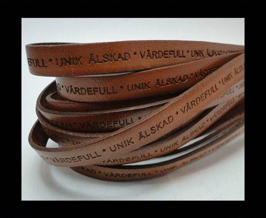 Real Flat Leather-LEV  SKRATTA  ÄLSKA-10mm- brown