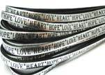 Real Flat Leather-5MM-Hope Love Heart style-Silver