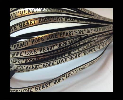 Buy Real Flat Leather-5MM-Hope Love Heart style-Metallic Gold at wholesale prices