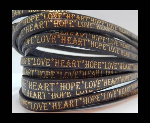 Real Flat Leather-10mm-Hope Love Heart style-grey with gold