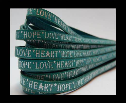 Real Flat Leather-10mm-Hope Love Heart style-Turquoise with Silv