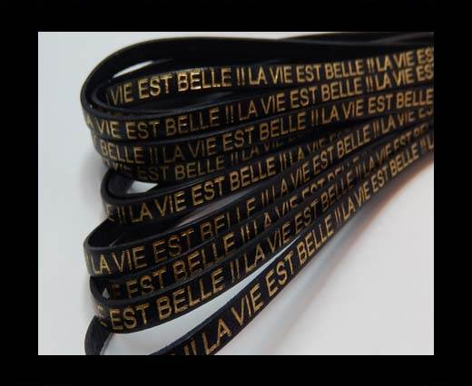 Real Flat Leather-LA VIE EST BELLE - black with gold 2