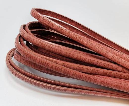 Real Flat Leather-5MM-Follow Your Dreams - pink