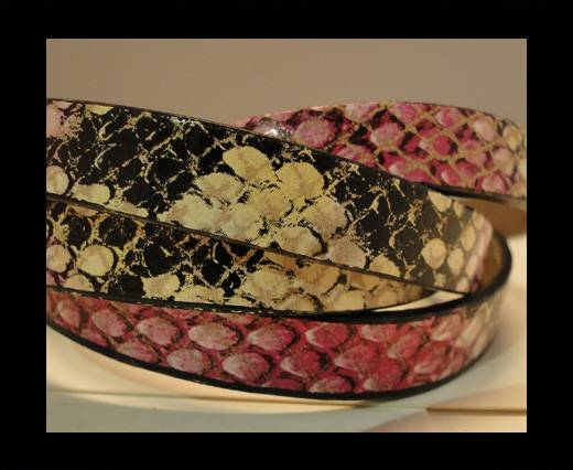 Buy Real Leather Snake Style - Pink and Brown-10mm at wholesale prices