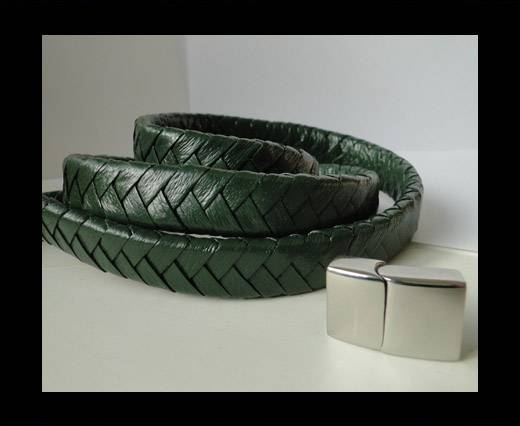 Buy Real Nappa Flat Woven Cords - 15 mm - Green at wholesale prices