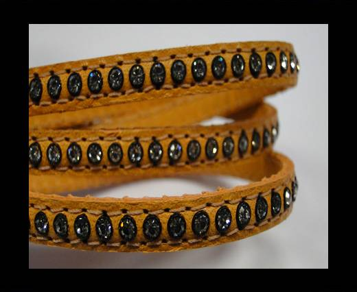 Buy Real Nappa Flat Leather with swarovski crystals - 6mm - Orange at wholesale prices