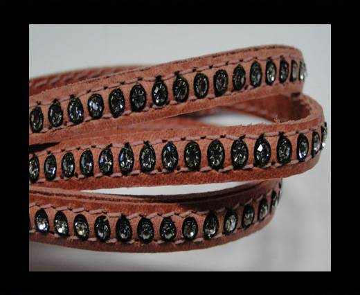 Buy Real Nappa Flat Leather with swarovski crystals - 6mm - Pink at wholesale prices