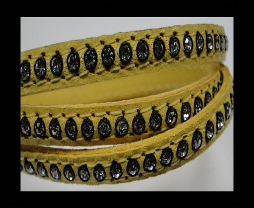 Real Nappa Flat Leather with swarovski crystals - 6mm - Yellow