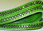 Real Nappa Flat Leather with swarovski crystals - 6mm - Green