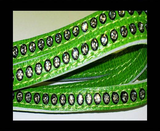 Buy Real Nappa Flat Leather with swarovski crystals - 6mm - Green at wholesale prices