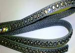 Real Nappa Flat Leather with swarovski crystals - 6mm - Grey