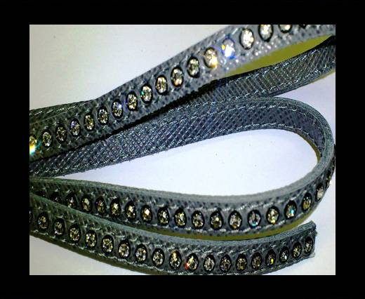 Buy Real Nappa Flat Leather with swarovski crystals - 6mm - Grey at wholesale prices
