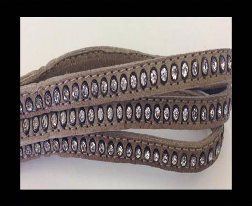 Buy Real Nappa Flat Leather with swarovski crystals-6mm-Taupe at wholesale prices