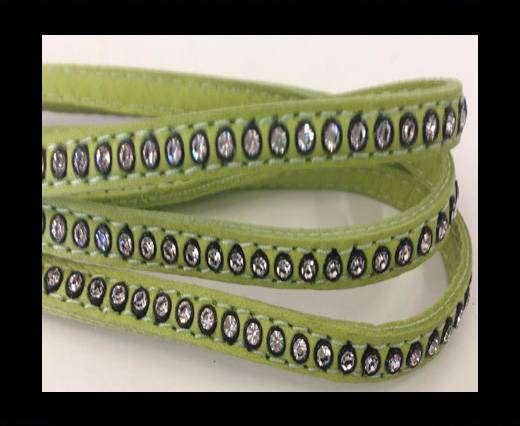 Real Nappa Flat Leather with swarovski crystals-6mm-Pea green