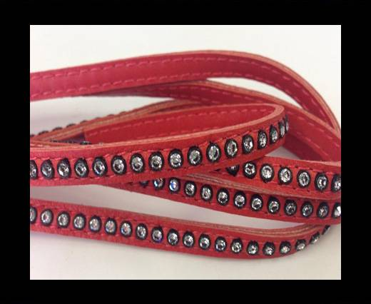 Real Nappa Flat Leather with swarovski crystals-6mm-REd