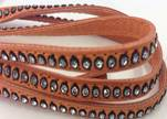 Real Nappa Flat Leather with swarovski crystals-6mm-Salmon
