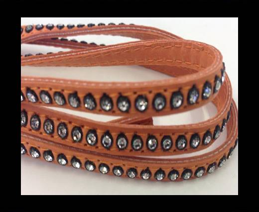 Buy Real Nappa Flat Leather with swarovski crystals-6mm-Salmon at wholesale prices