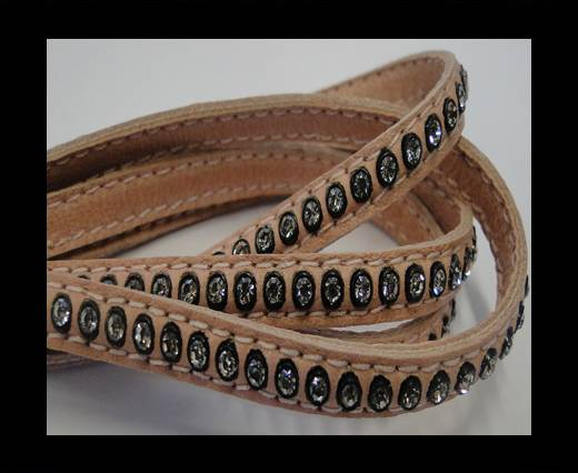 Buy Real Nappa Flat Leather with swarovski crystals - 6mm - salmon at wholesale prices
