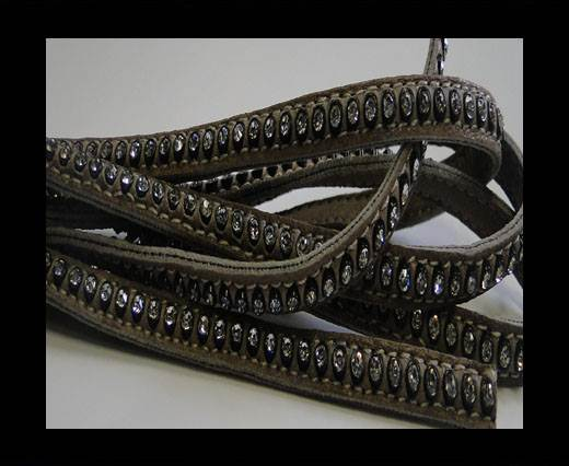 Buy Real Nappa Flat Leather with swarovski crystals - 6mm - medium t at wholesale prices
