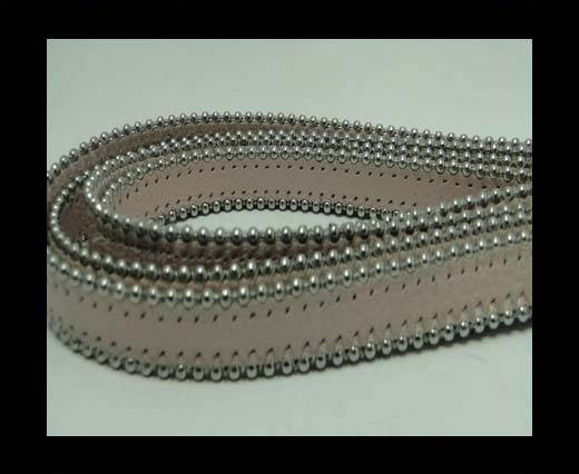 Real Nappa Flat Leather with steel balls chains - 10mm - pastel