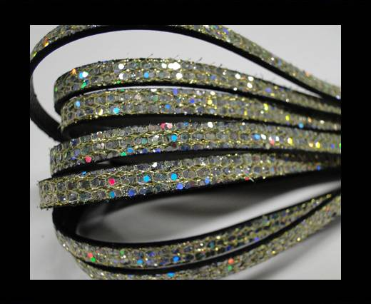 Real Nappa Leather - PLATINUM -Glitter Style -5mm